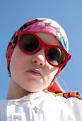 pic of cheater  - closeup portrait of cool young girl in bandana and big sunglasses - JPG