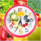 foto of vegetable food fruit  - Food clock with vegetables and fruits as background - JPG
