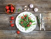 foto of sunflower  - Salad with arugula - JPG