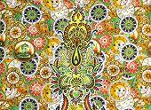picture of batik  - Closeup beautiful colorful pattern of batik fablic background - JPG