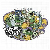 picture of monsters  - Vector illustration of Monsters and cute alien friendly cool cute hand - JPG