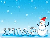 stock photo of snowmen  - Background illustration of happy smiling snowman on blue falling snow background with x - JPG