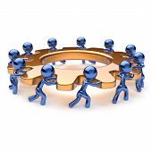 picture of partnership  - Teamwork business process mans start turning golden gear together - JPG