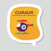 image of rescue helicopter  - Medical Helicopter Flat Icon With Long Shadow - JPG