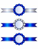 image of rosettes  - Set of blue and silver ribbons and rosettes with a white background and copy space - JPG