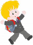 picture of schoolboys  - Joyful schoolboy with his schoolbag running and and waving his hands - JPG