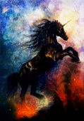 foto of unicorn  - painting on canvas of a black unicorn dancing in space desert effect - JPG