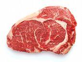 picture of rib eye steak  - Fresh raw beef steak isolated on white - JPG