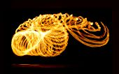 stock photo of fire  - Fire Show Flaming Trails - JPG