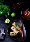 picture of thai cuisine  - fried spring rolls - JPG