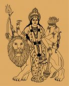 pic of durga  - Hindu goddess Durga with a lion on a beige background - JPG