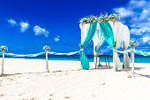 stock photo of wedding arch  - beach wedding venue - JPG