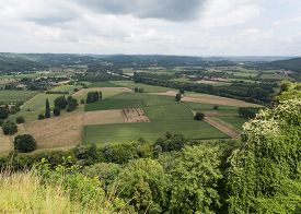 stock photo of domme  - View of the French countryside in the Perigord - JPG