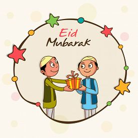 pic of ramazan mubarak  - Cute kids celebrating and giving gifts to each other on occasion of muslim community festival - JPG