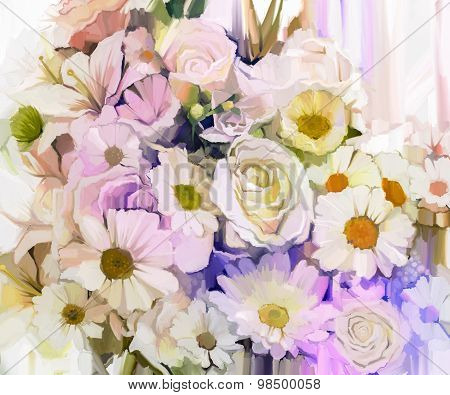 Still Life Of White Color Flowers With Soft Pink And Purple Background. Oil Painting Soft Colorful B