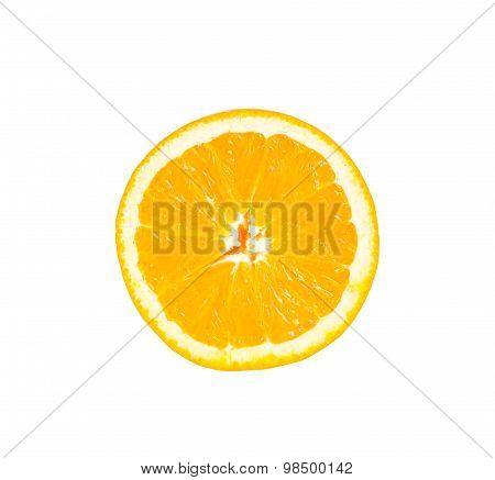 Slice of orange isolate on white with work path