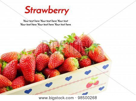 Strawberries Border Isolate On White With Work Path And Sample Text