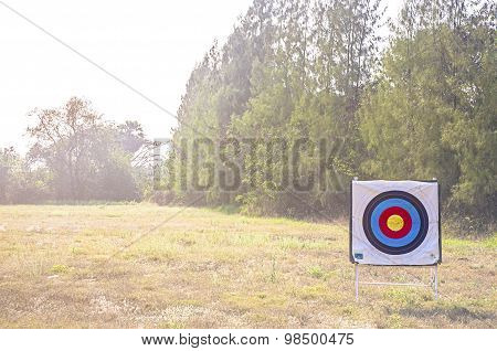Used archery target on field with soft light and flare