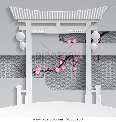Cut paper chinese or japanese gate with branch of cherry blossom on the decorative background