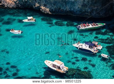 Luxury Yachts At Blue Lagoon - Comino, Malta