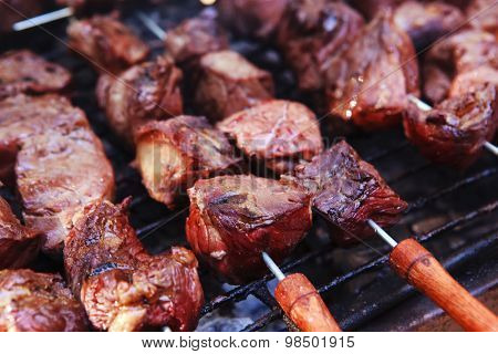 fresh raw turkey fillet steak red meat brisket on skewers barbecue brazier grid full burned charcoal