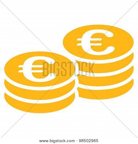 Euro coin stacks icon from BiColor Euro Banking Set