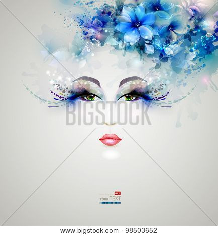Beautiful abstract women with abstract design floral elements