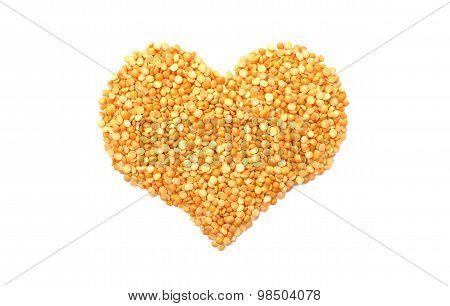 Yellow Split Peas In A Heart Shape