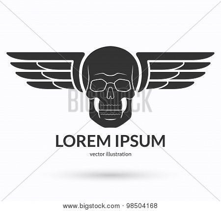 Skull with wings logo, emblem, icon, symbol, sign