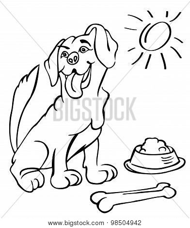 Dog With Bone And Bowl