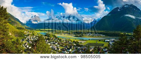 Panoramic view on Andalsnes City, Norway