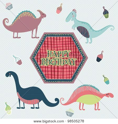 Lovely happy birthday card in vector. Sweet inspirational card with cartoon dinosaurs and cakes in f