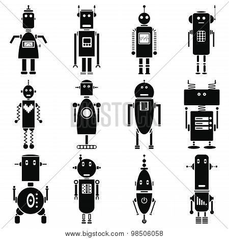 Vintage retro robots icons set in black and white