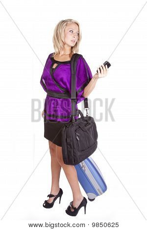 Purple Suitcase Phone Bag Stress