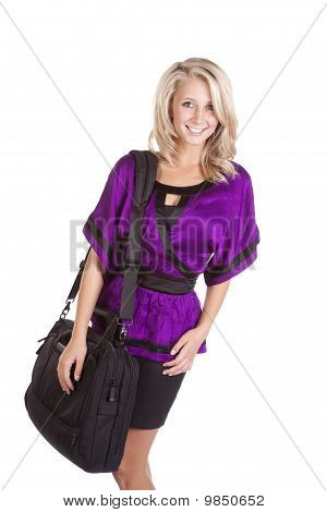 Woman Purple Holding Bag