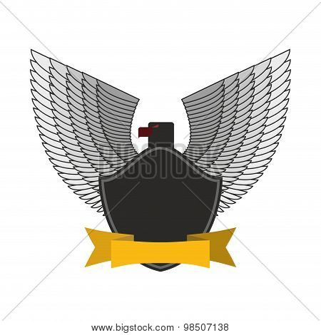 Black Eagle With White Wings. Logo Or Emblem Fo  Soldiers. Yellow Tape And Bird. Symbol Of Freedom