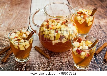 Autumn  sangria with apples,pears and cinnamon
