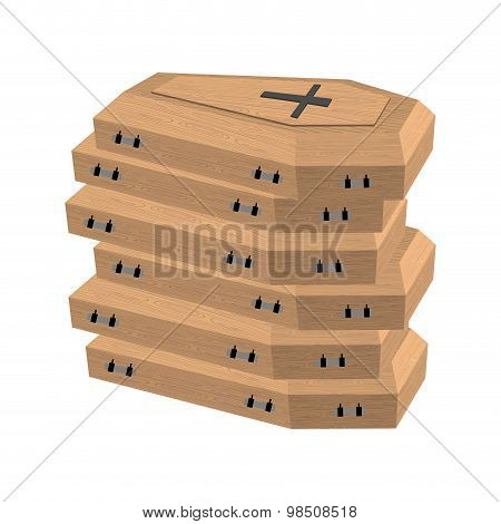 Pile Of Coffins. Many Coffins For Dead. Vector Illustration Of Sorrow