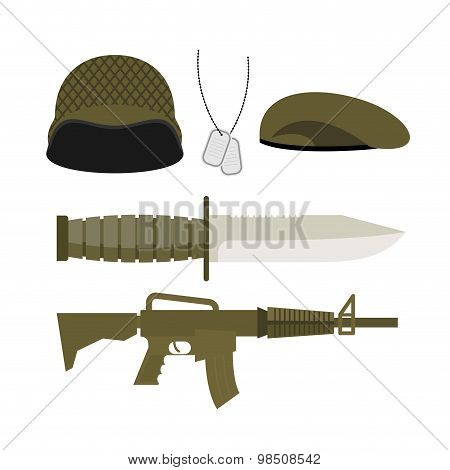 Set Army Military Icon . Soldiers Helmet And Badge, Gun And Knife. Head-dress Of A Soldier: Helmet A