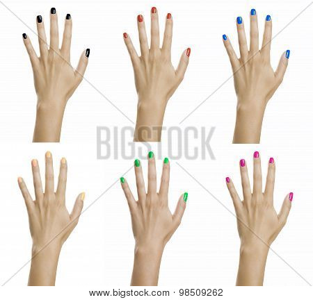Woman Hands With Colorful Nail Varnish