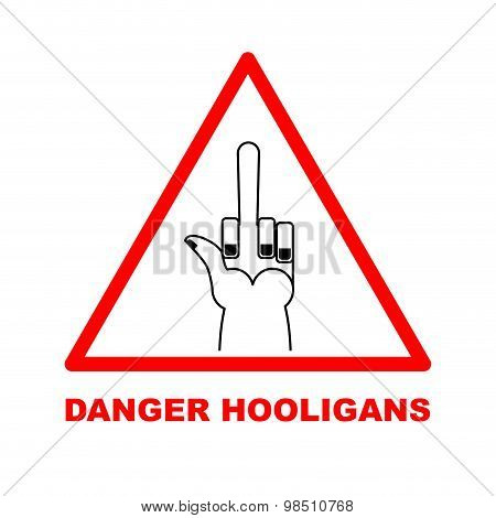 Danger Sign. Red Triangle-road Sign. Dangerous: Bullies, Hooligans. Vector Illustration.