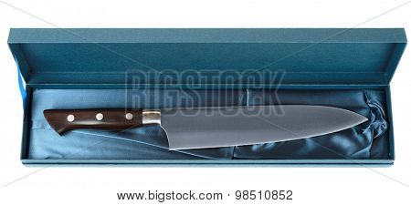 Japanese chef's knife in blue gift box, isolated, never used