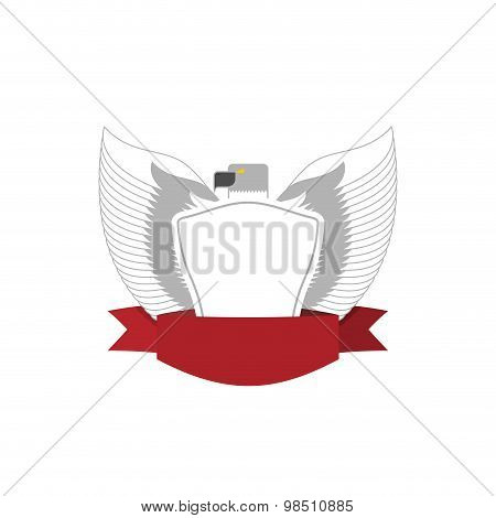 Emblem Of White Bird With Shield. Hawk Military Logo. Vector Illustration.