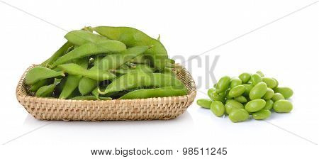 Green Soybeans In The Basket On White Background