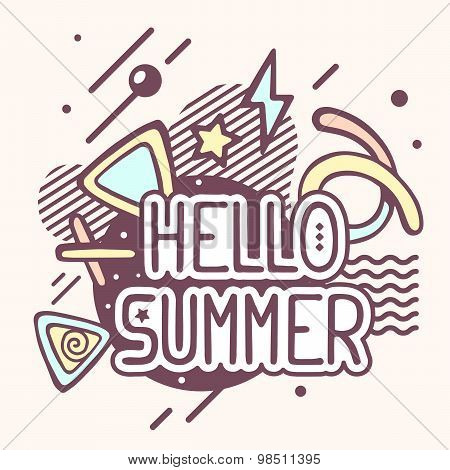 Vector Illustration Of Retro Color Hello Summer Quote On Abstract Background.