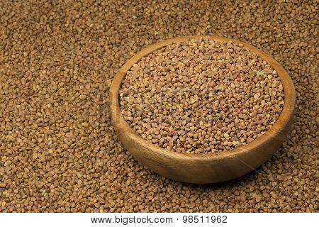 buckwheat in a wooden bowl.