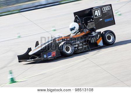HOCKENHEIM, GERMANY - AUGUST 2, 2015: The combustion race car of the university of Munich in action at the dynamic endurance event of the  world championships of the Formula Student Design Competition