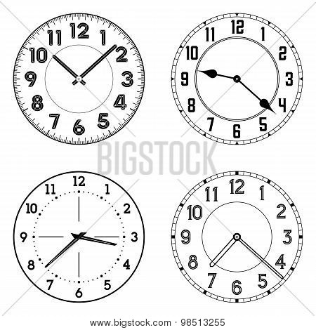 The set of different clock faces