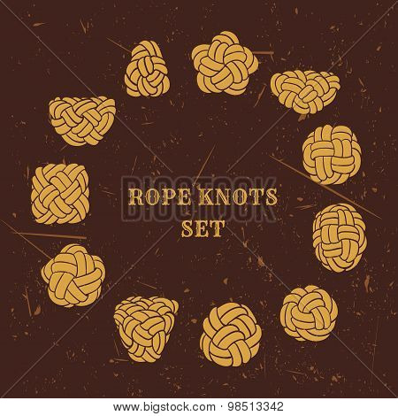 Vintage illustrations of nautical rope knots collection on grunge background