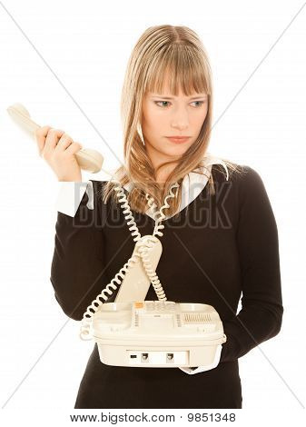Beautiful Businesswoman Holding  Phone And Looking Sadness